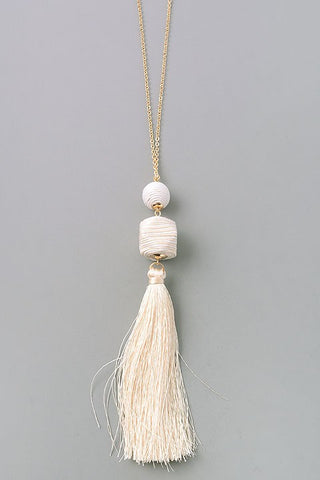Ivory Stripe Ball Tassel Necklace