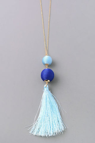 Light Blue Duo Tassel Necklace
