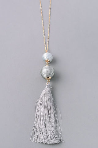 Grey Duo Tassel Necklace