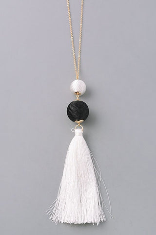Black Duo Tassel Necklace