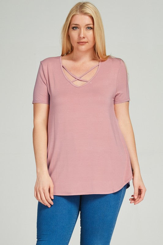 Plus Size Mauve Modal Criss Cross Top