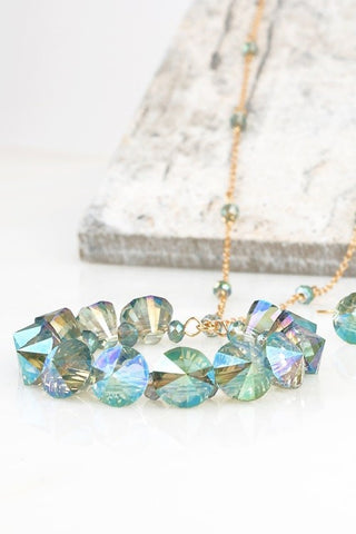 Green Circle Crystal Pendant Necklace Set