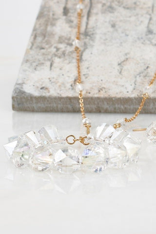 AB Circle Crystal Pendant Necklace Set