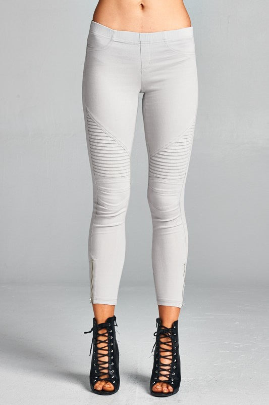 Light Grey Moto Jeggings
