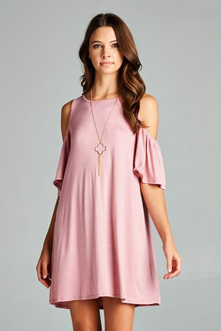 Blush All Day Cold Shoulder Knit Dress