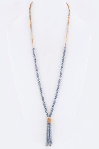 Blue Grey Beaded Tassel Necklace