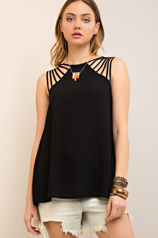 Black Strappy Detail Tank