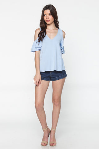 Baby Blue Ruffle Cold Shoulder Top