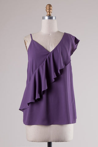 Pretty in Purple One Shoulder Ruffle Detail Top