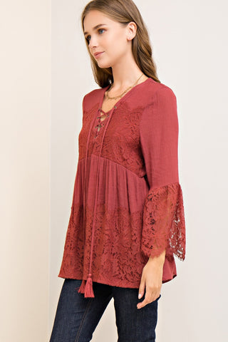 Apple Butter Lace Sleeve Baby Doll Top