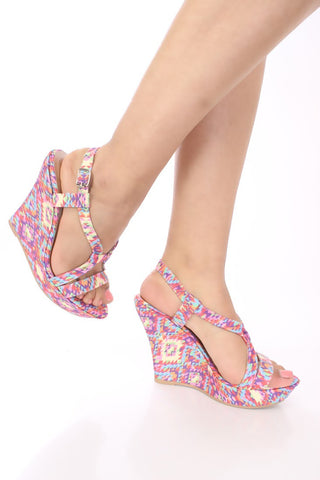 Multi Color Aztec Print  Wedges