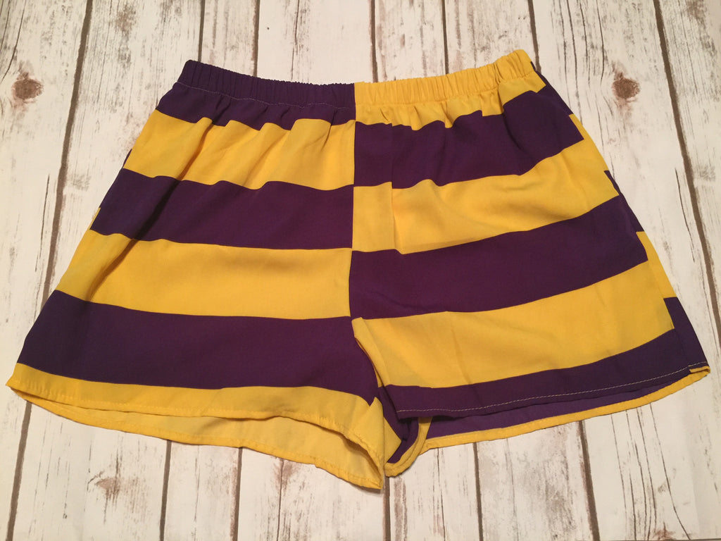 Purple and Gold Stripe Shorts