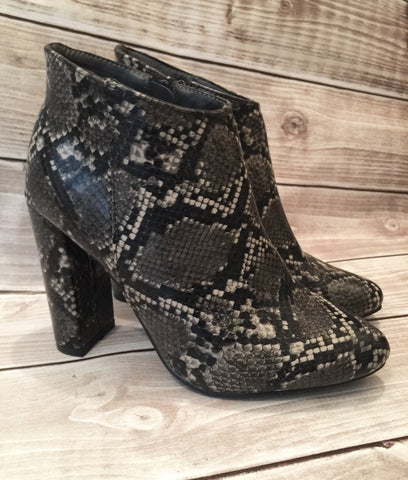 Black Snakeskin Booties