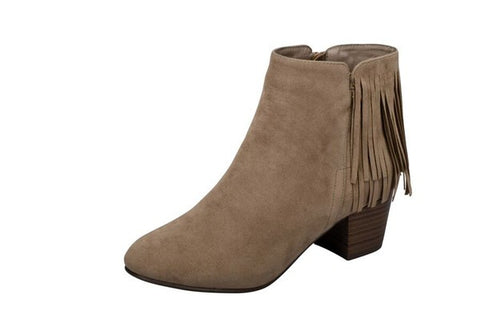 Westy Taupe Fringe Booties