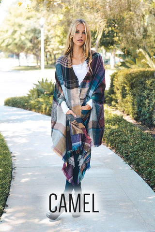 """Camel"" Plaid Blanket Scarf Cardigan"