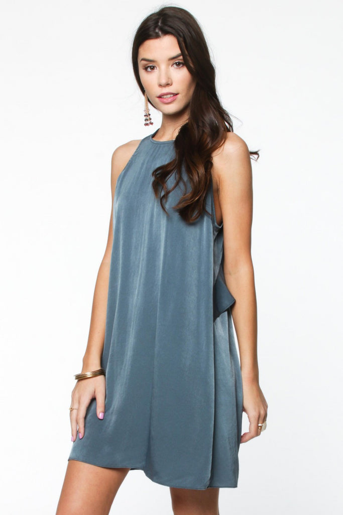Slate Blue Ruffle Back Dress