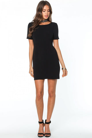 Black Back V-Neck Detail Dress