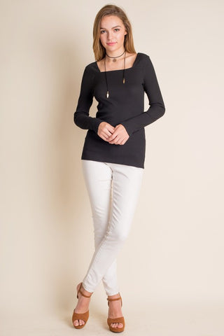 Black Square Neck Ribbed Top