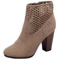 Cut-Out Beige Booties