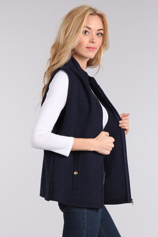 Navy Mock Neck Relaxed Fit Vest