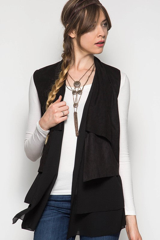 Black Suede Layered Vest