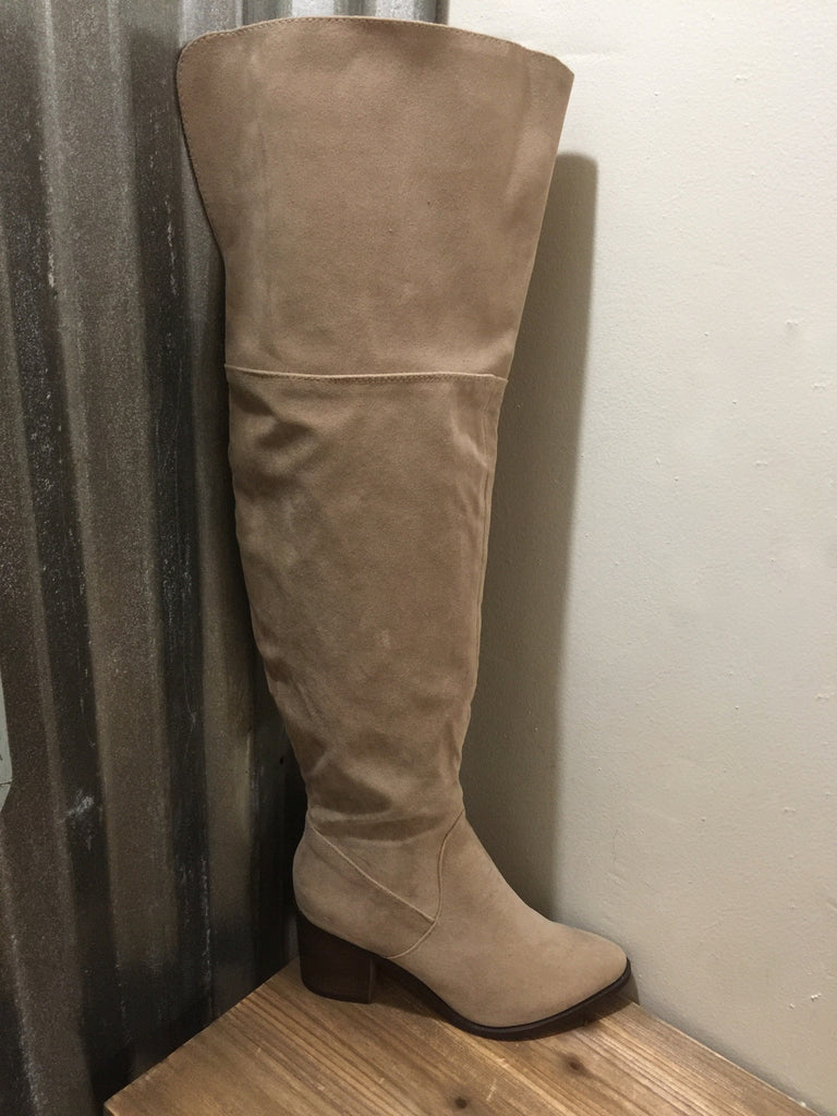 Beige Over the Knee Boots