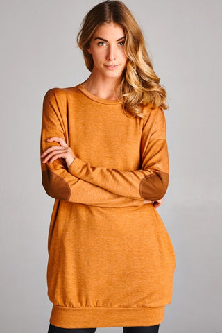 Rust Elbow Patch Detail Tunic