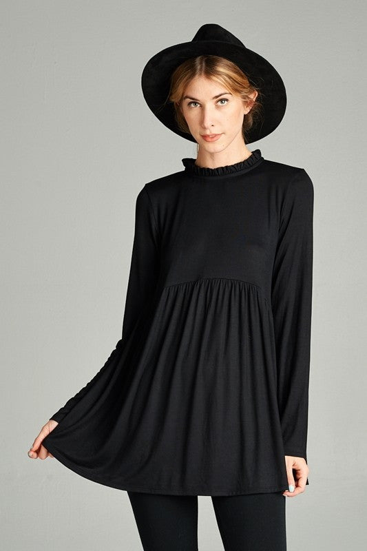 Black Ruffle Mock Neck Top