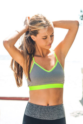 "Neon Yellow/Grey ""Y"" Back Sports Bra"