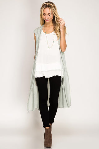Light Slate Lace Sleeveless Duster