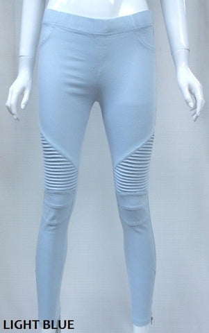 Baby Blue Moto Jeggings with Zipper Detail