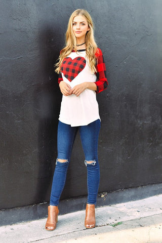 Plus Size Plaid Sleeve Heart Top