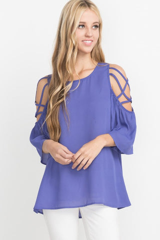 Peri Blue Frills Cold Shoulder Top