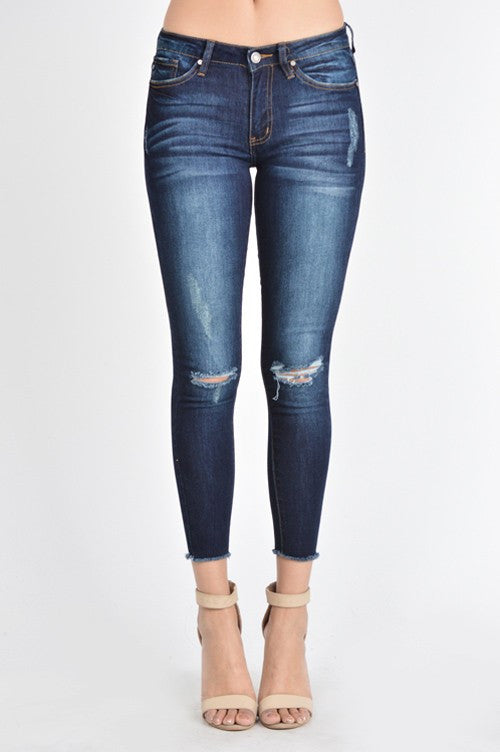Distressed Frayed Bottom Skinny Jeans