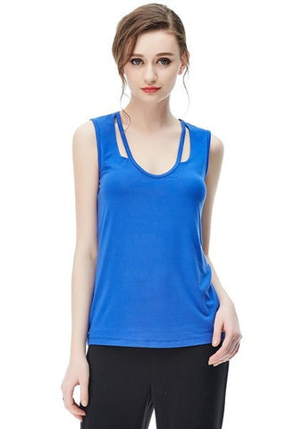 Capri Blue Cut Out Sleeveless Tank