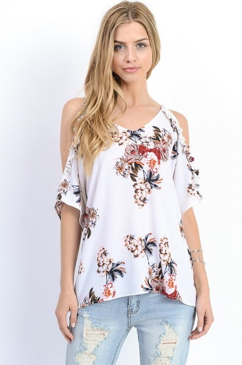 Ivory Floral Ruffle Cold Shoulder Top