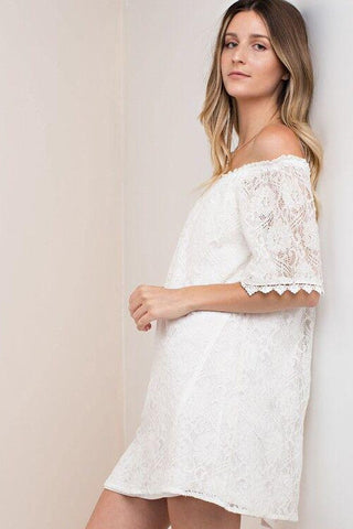 Beach Bliss Ivory Lace Off the Shoulder Dress