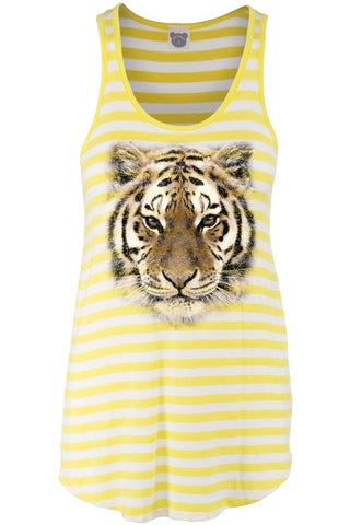 Yellow Stripe Tiger Face Tank
