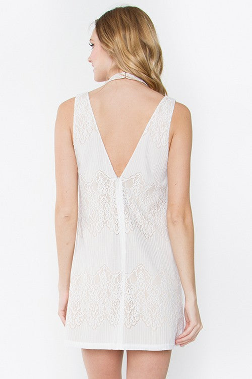 White Mock Neck Cut-Out Detail Dress