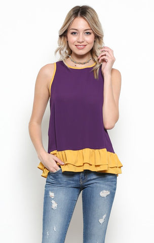 Purple/Gold Ruffle Bottom Tank