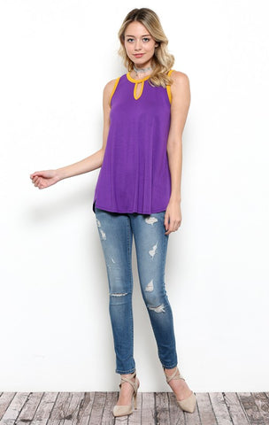 Purple Tank with Gold Trim