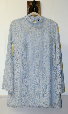 Baby Blue High Neck Lace Dress