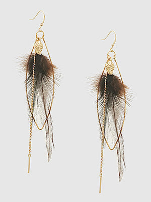 Boho Feather Marquee Drop Earrings