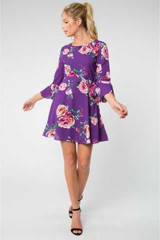 Be A Darling Plum Floral Dress