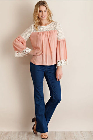 Mauve 'N' Lace Detail Top