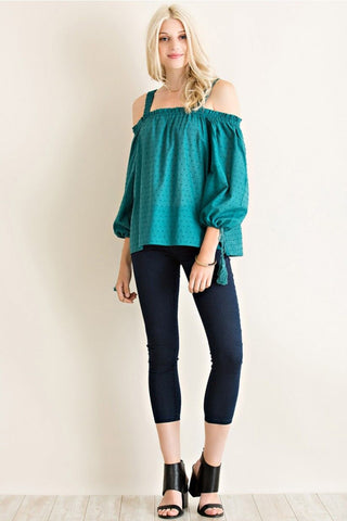 Emerald Tassel Tie Detail Top