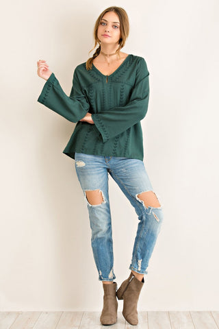 Emerald Embroidery Detail Bell Sleeve Top