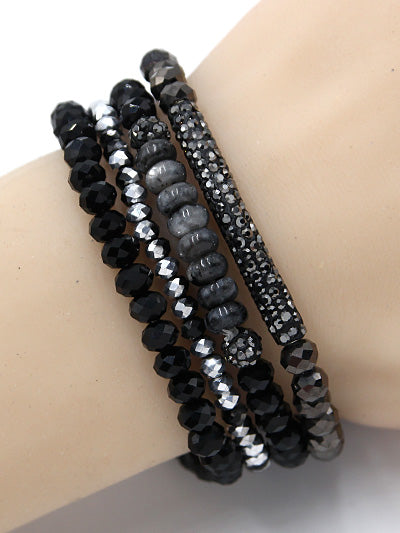Bling Black Beaded Stretch Bracelet Set