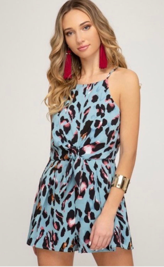 Blue Wild For You Animal Print Tie Romper