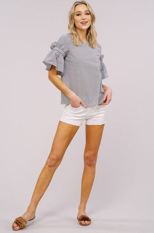 Charcoal Keep It Sassy Stripe Ruffle Sleeve Top